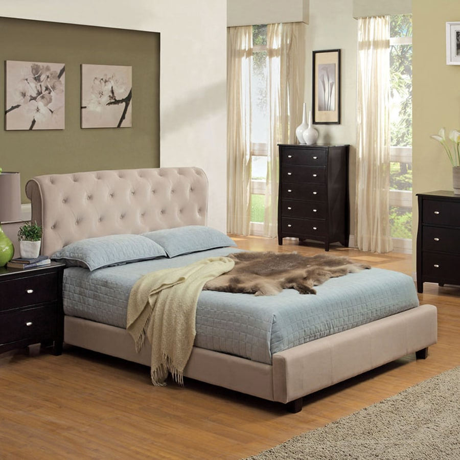 Shop furniture of america maywood beige king platform bed for Furniture of america king bed
