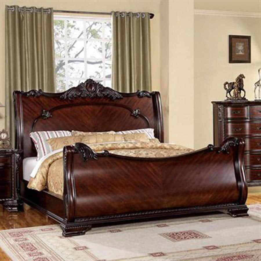 Furniture of America Bellefonte Brown Cherry King Sleigh Bed
