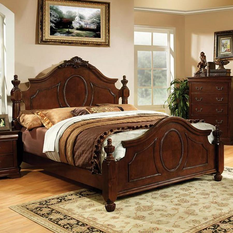 Furniture of America Velda Warm Cherry California King Low-Profile Bed