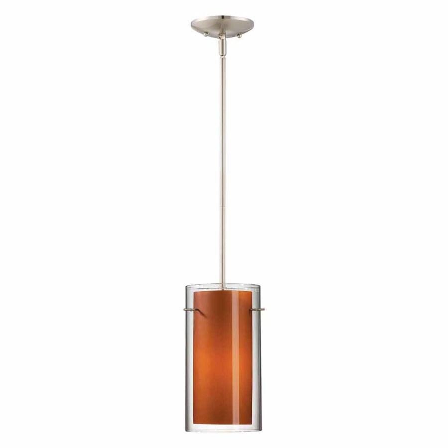 Volume International Esprit 6.75-in Brushed Nickel Mini Tinted Glass Cylinder Pendant
