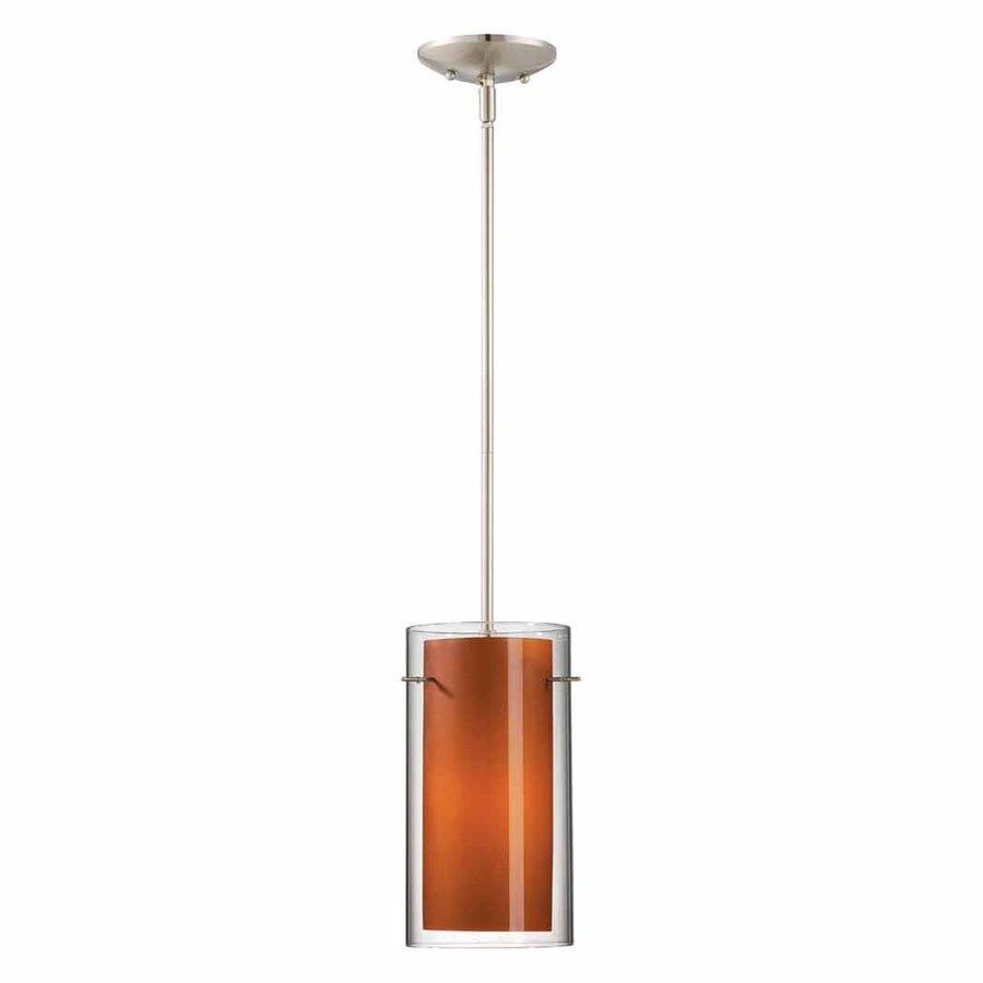 Volume International Esprit 6.25-in Brushed Nickel Mini Tinted Glass Cylinder Pendant