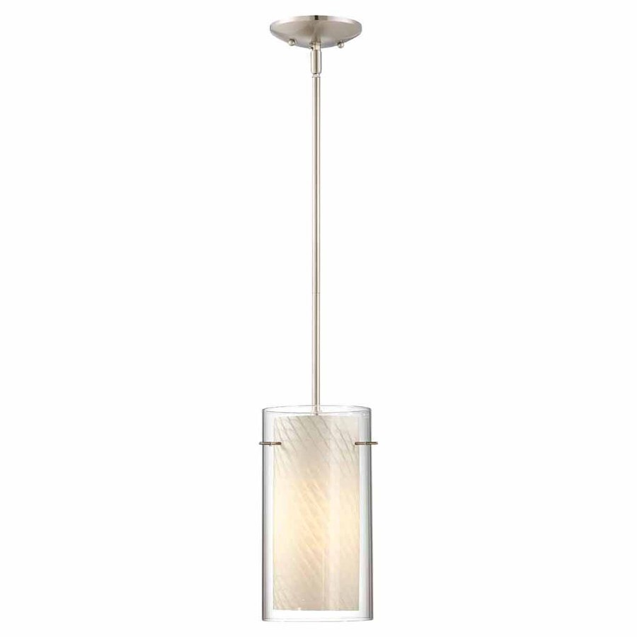 Volume International 6.25-in Brushed Nickel Mini Textured Glass Cylinder Pendant