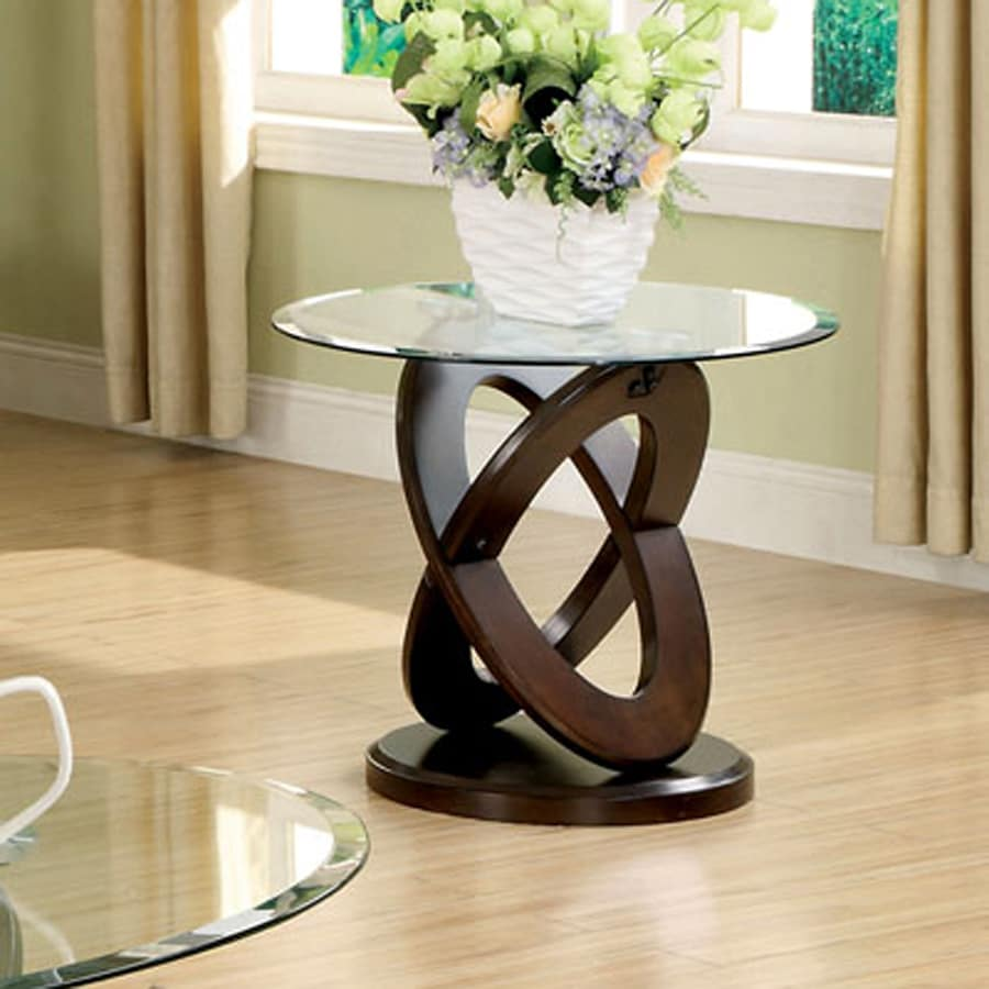 Furniture of America Atwood Dark Walnut (Composite) Round End Table