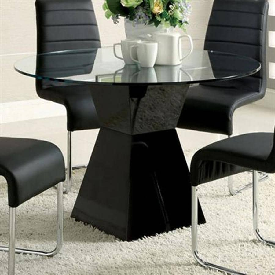 Furniture of America Mauna Black Round Dining Table