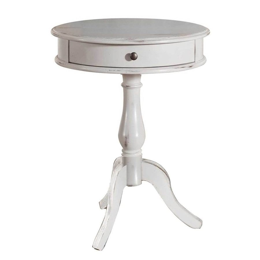 Decor Therapy Antique White Asian Hardwood Round End Table