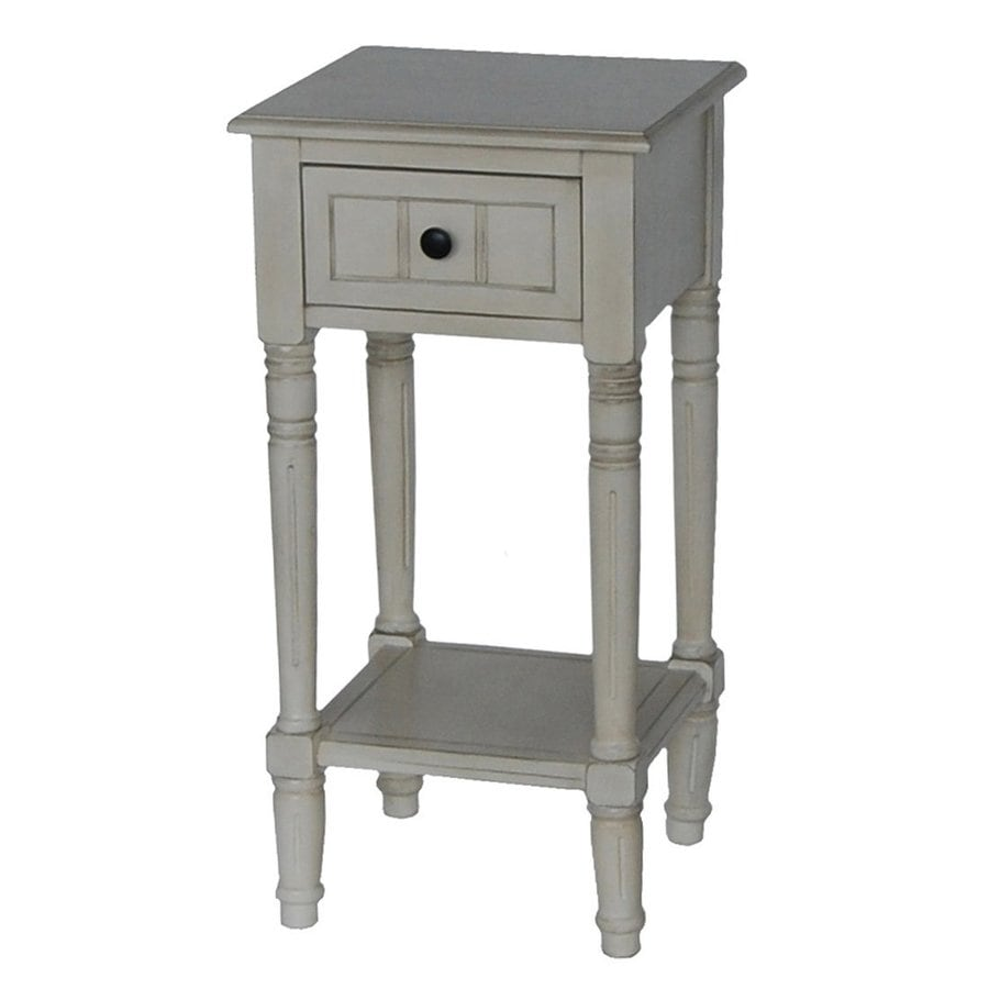 Decor Therapy Antique White Asian Hardwood Square End Table