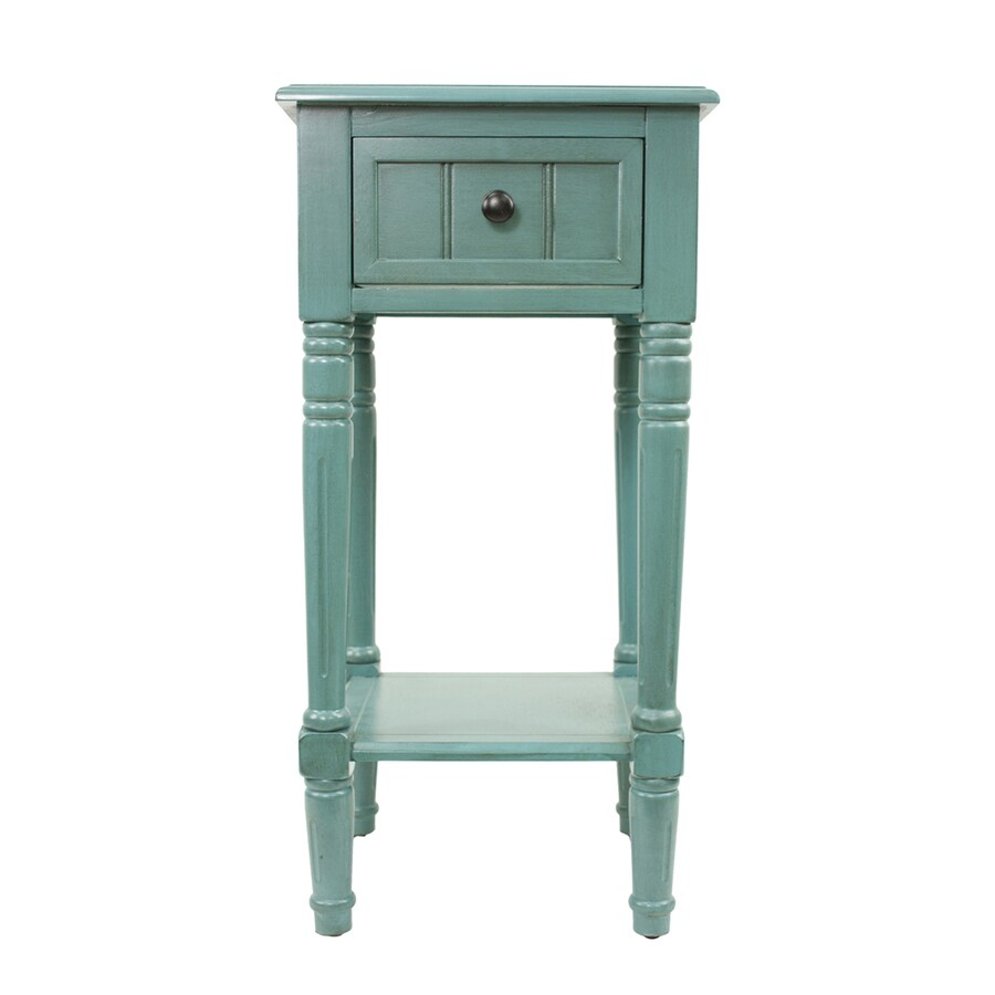 Decor Therapy Simplify Blue Asian Hardwood Square End Table