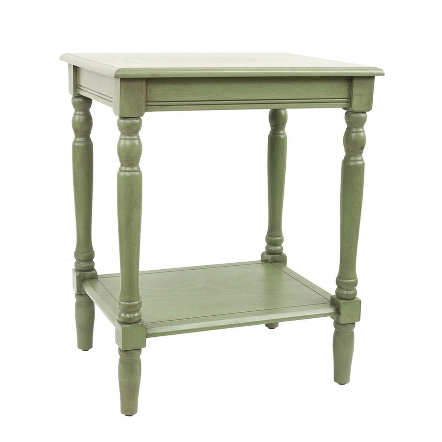 Decor Therapy Simplify Antique Green Composite Rectangular End Table