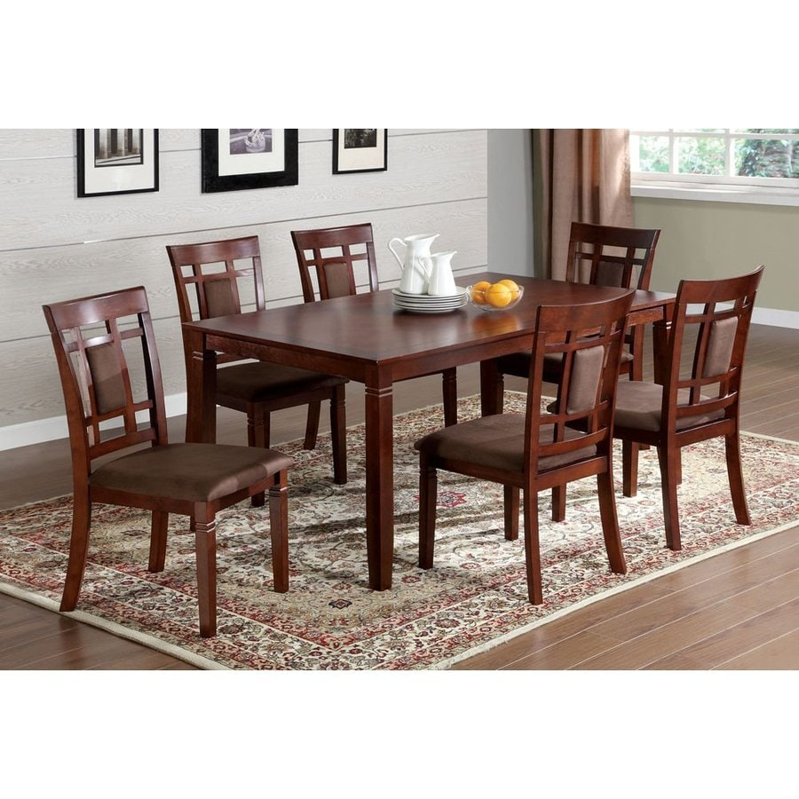 Shop Furniture Of America Montclair Dark Cherry Dining Set With Rectangular Dining Table At