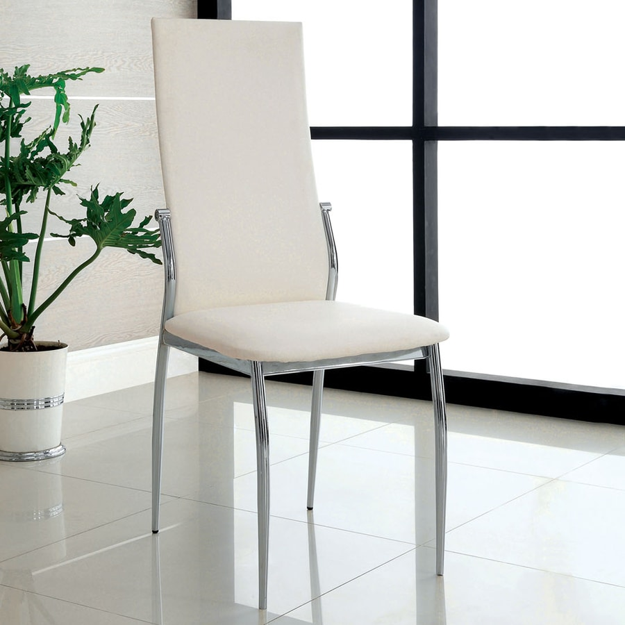 Furniture of America Set of 2 Kona White Side Chairs