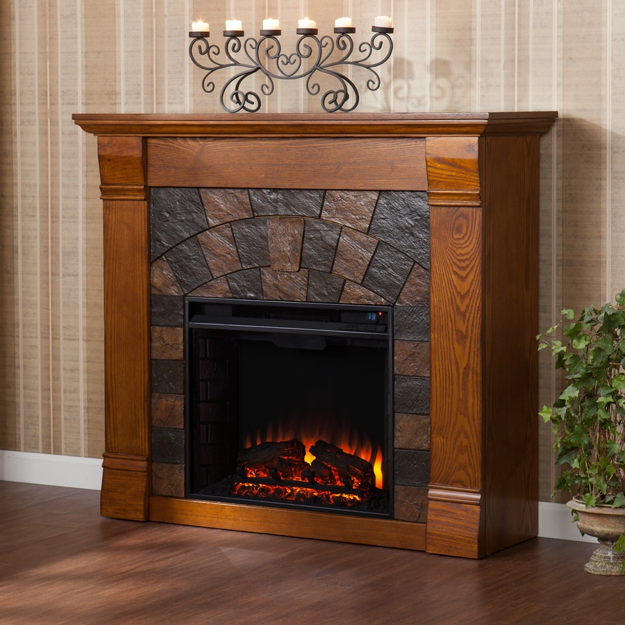 Boston Loft Furnishings 45.5-in W 4700-BTU Salem Antique Oak Wood Veneer Fan-Forced Electric Fireplace with Thermostat and Remote Control
