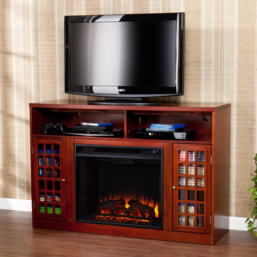 Boston Loft Furnishings 48-in W 4700-BTU Mahogany Wood Fan-Forced Electric Fireplace with Thermostat with Remote Control
