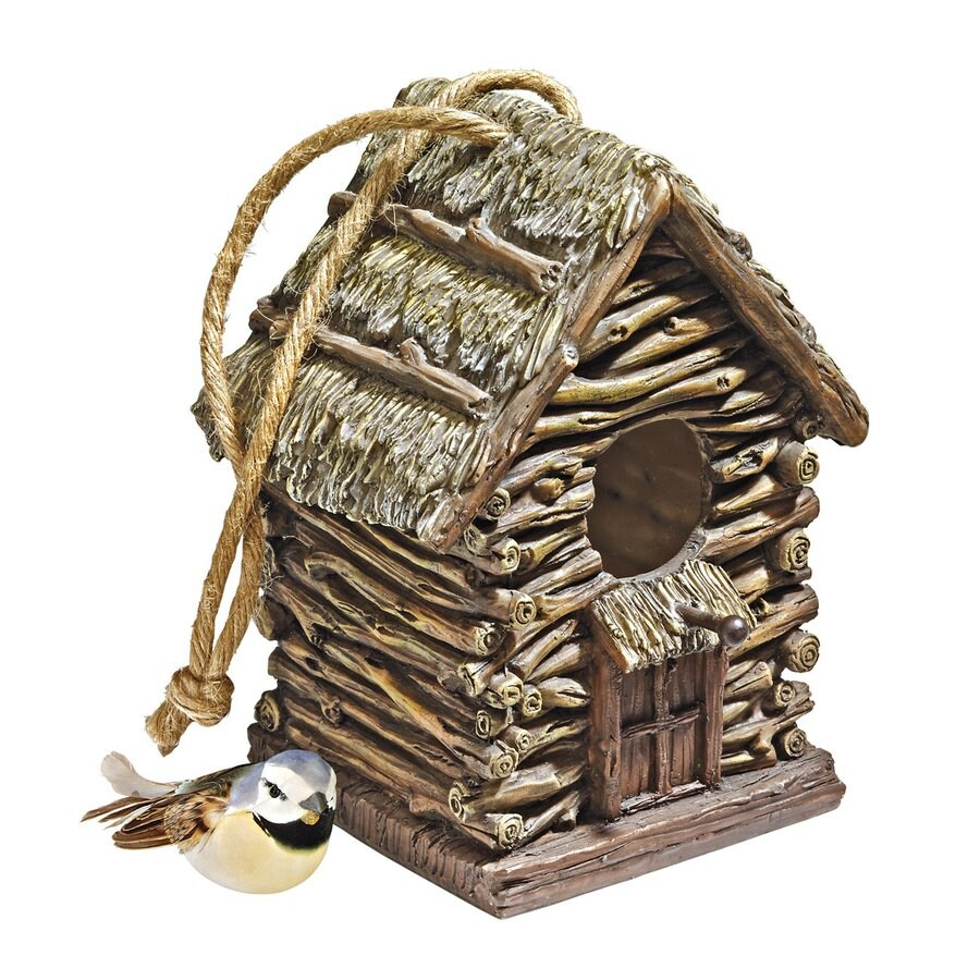 Design Toscano 6-in W x 7-in H x 5.5-in D Wood Tone Bird House