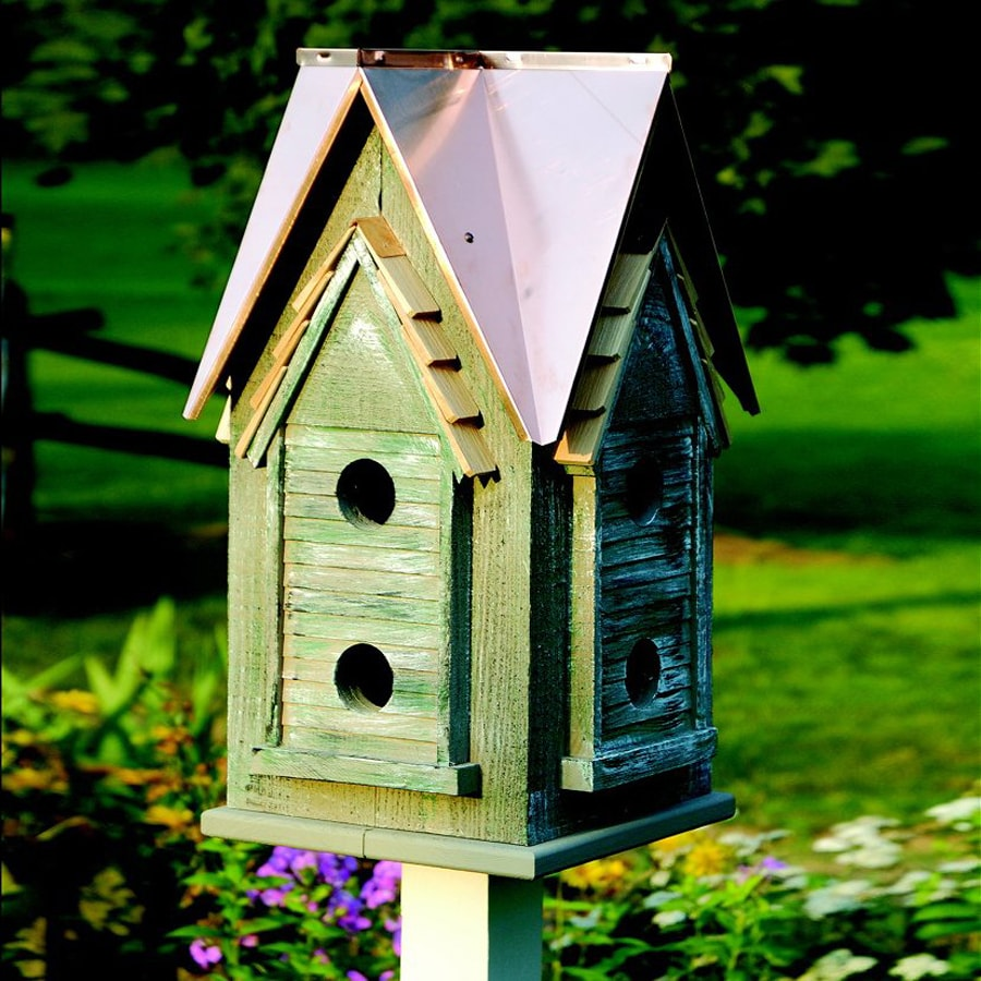Heartwood 15-in W x 27-in H x 15-in D Bright Copper Bird House