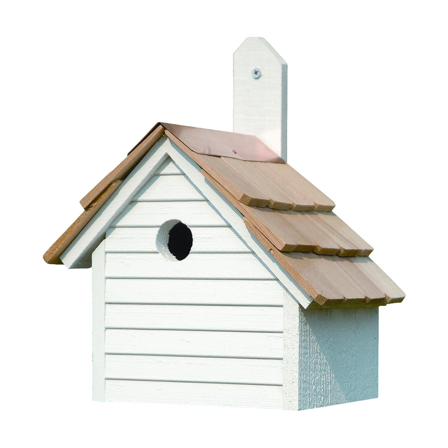 Heartwood 10-in W x 12-in H x 6-in D Whitewashed Bird House