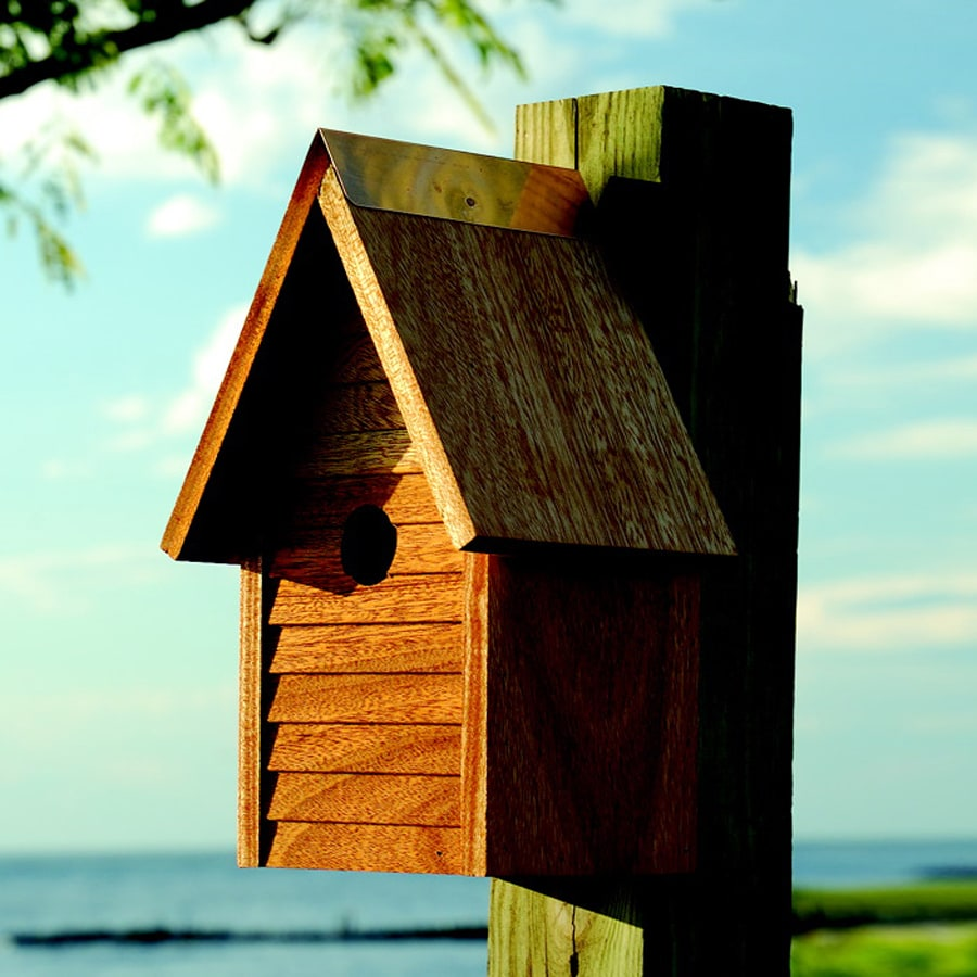 Heartwood 7-in W x 12-in H x 6-in D Oiled Mahogany Bird House