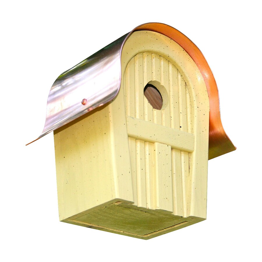 Heartwood 7-in W x 10-in H x 6-in D Yellow Bird House
