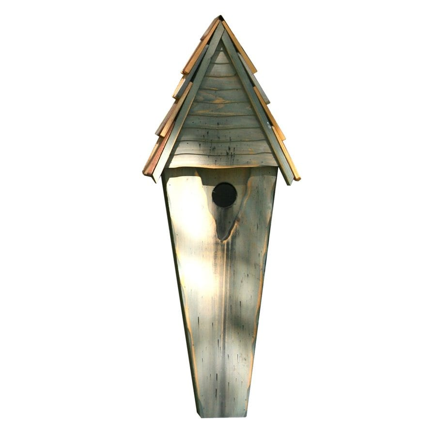 Heartwood 9-in W x 24-in H x 6-in D Grey Bird House