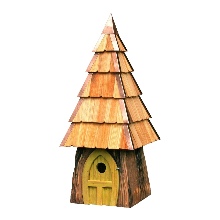 Heartwood 9-in W x 23-in H x 9-in D Yellow Bird House