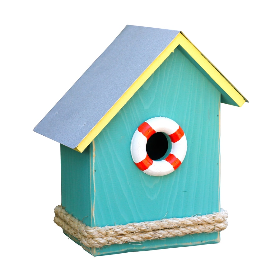 Heartwood 9-in W x 11-in H x 7-in D Turquoise Bird House