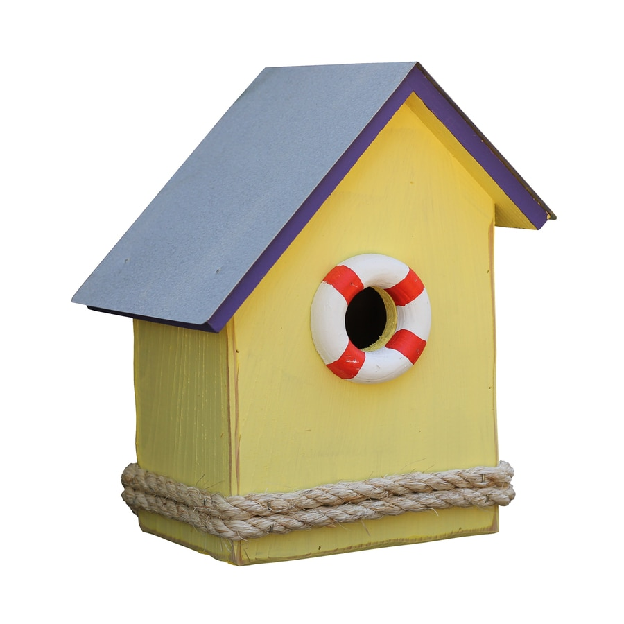 Heartwood 9-in W x 11-in H x 7-in D Yellow Bird House