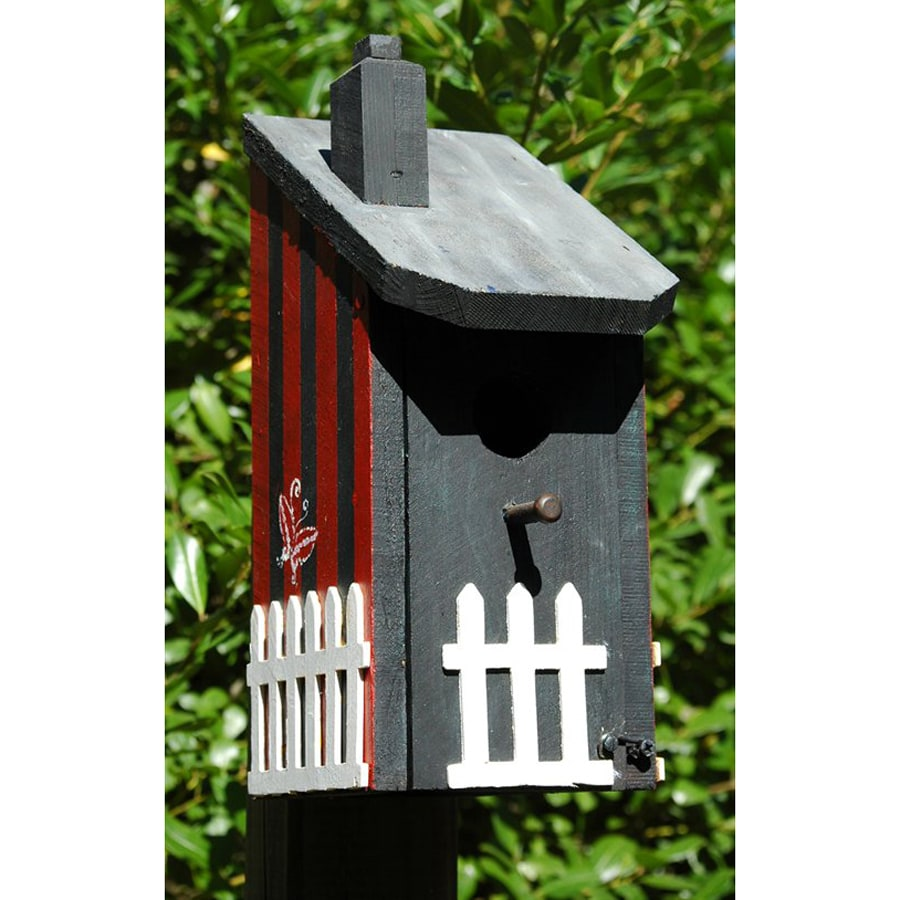 Wilderness Series Products 8-in W x 13-in H x 6-in D Grey/Red Bird House