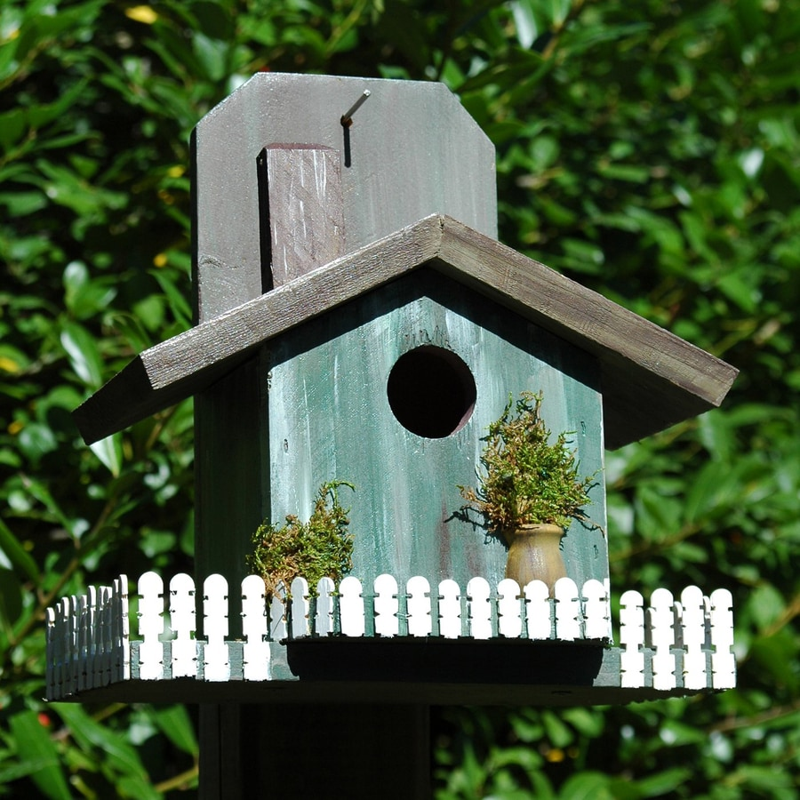 Wilderness Series Products 10-in W x 11-in H x 7-in D Antique Green/Brown Bird House