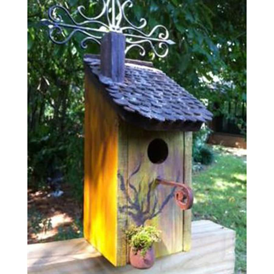 Wilderness Series Products 10-in W x 21-in H x 8-in D Antique Yellow/Black Bird House