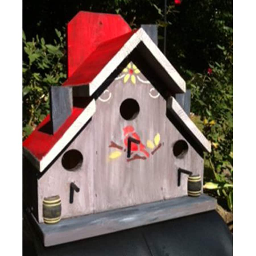 Wilderness Series Products 13-in W x 14-in H x 7-in D Tan/Red Bird House