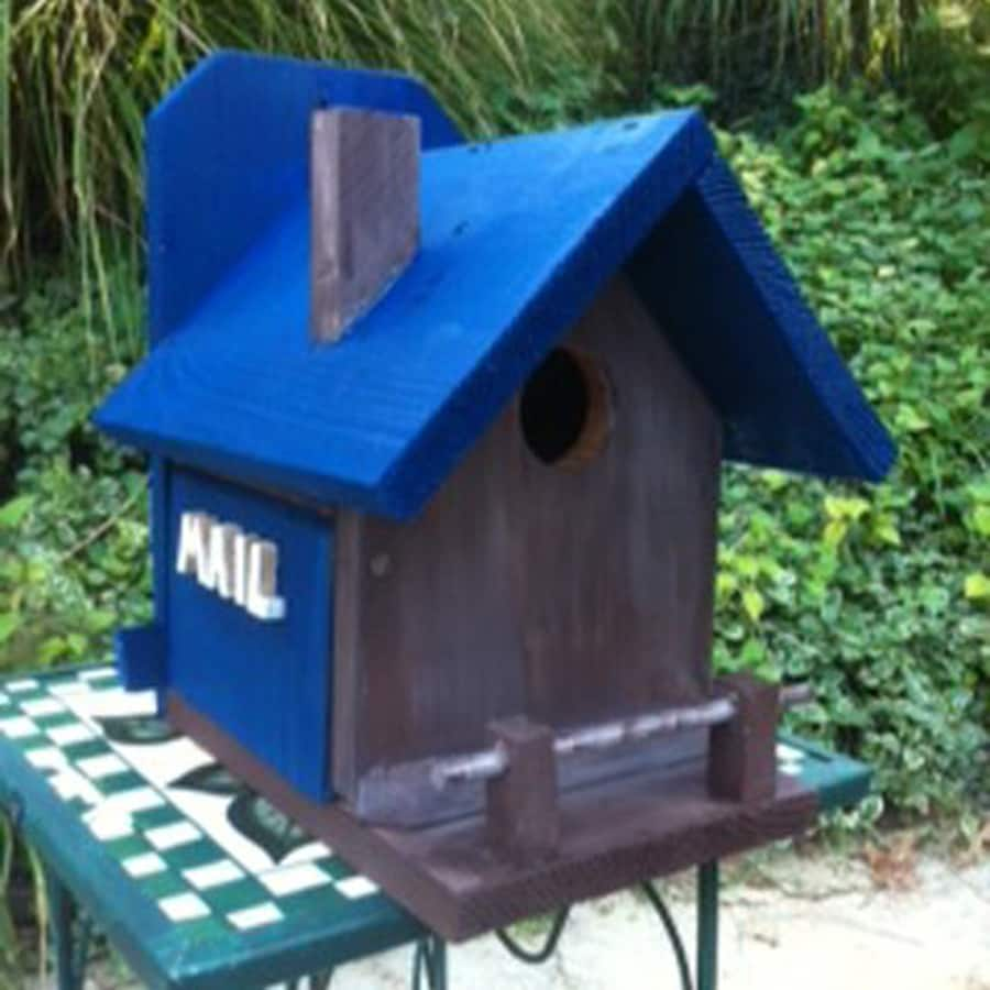 Wilderness Series Products 8-in W x 10-in H x 10-in D Royal Blue/Dark Grey Bird House