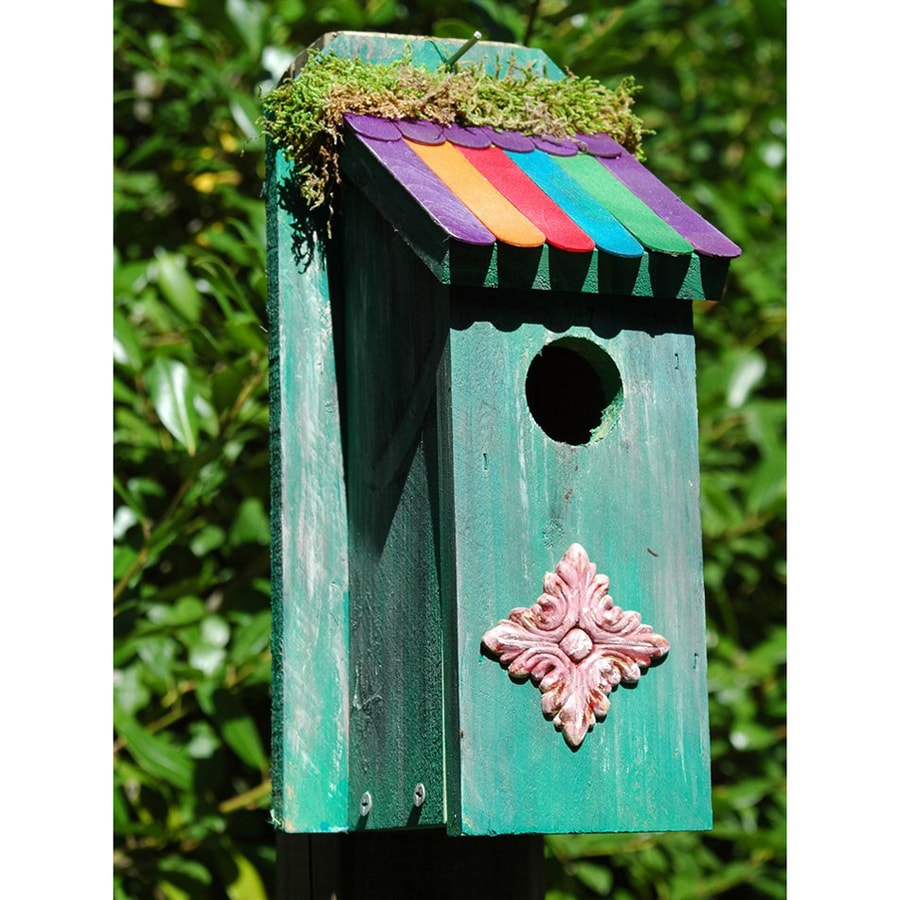 Wilderness Series Products 6-in W x 12-in H x 9-in D Aqua Bird House
