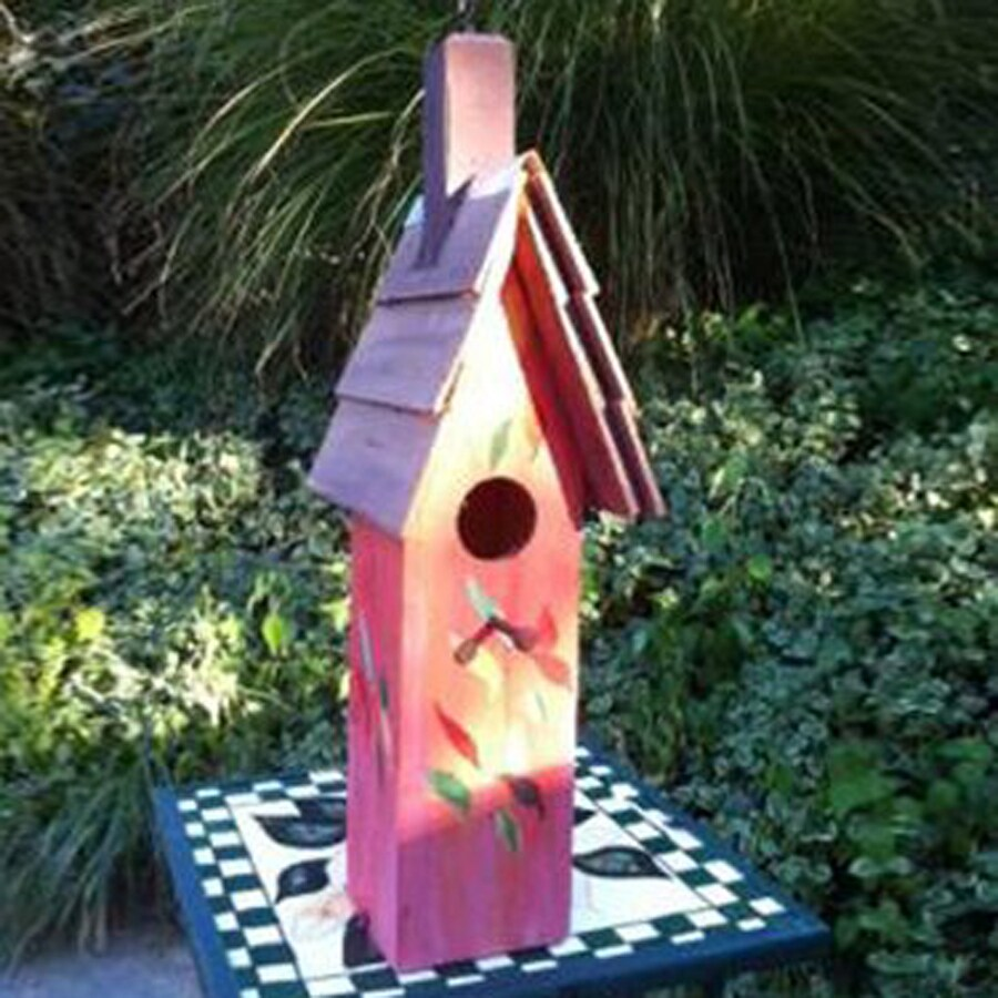 Wilderness Series Products 5-in W x 19-in H x 6-in D Rose/Grey Bird House