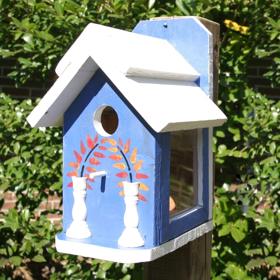 Wilderness Series Products 8-in W x 12-in H x 7-in D Blue/White Bird House