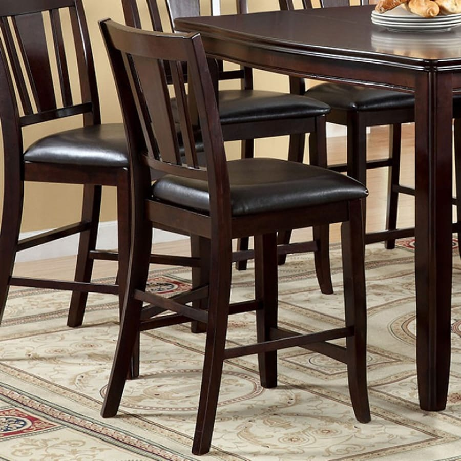 Furniture of America Set of 2 Edgewood Espresso 25-in Counter Stool