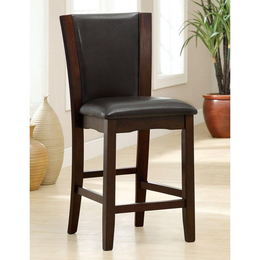 Furniture of America Set of 2 Manhattan Black 25.5-in Counter Stool