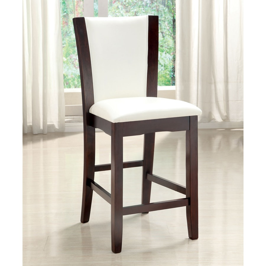 Furniture of America Set of 2 Manhattan White 25.5-in Counter Stool