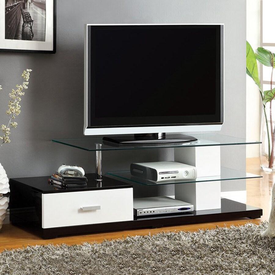 Furniture of America Agrini White Black Rectangular Television Cabinet