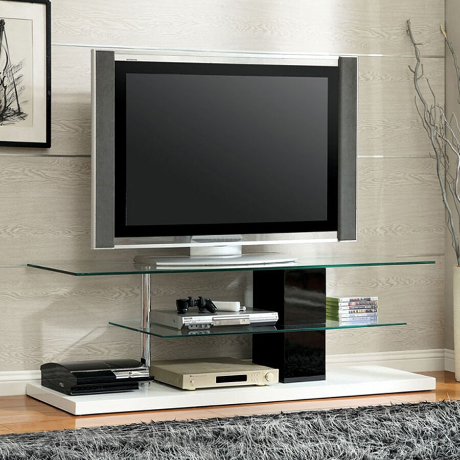 Furniture of America Neapoli White Black Rectangular Television Cabinet
