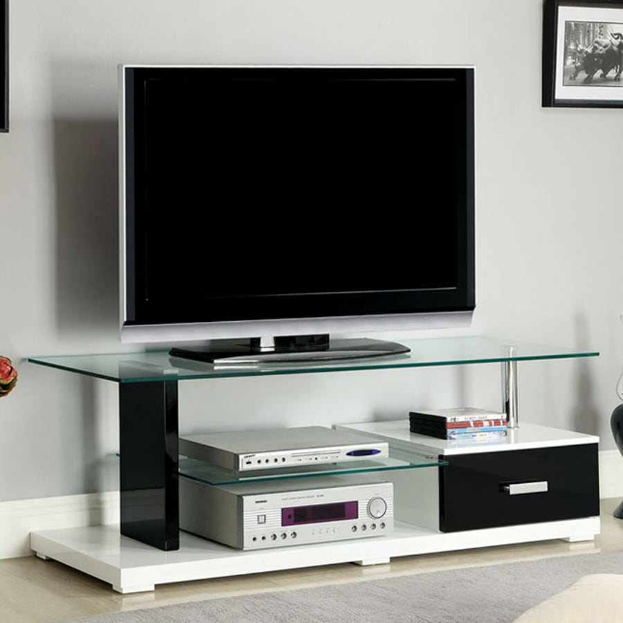 Furniture of America Egaleo White Black Rectangular Television Cabinet