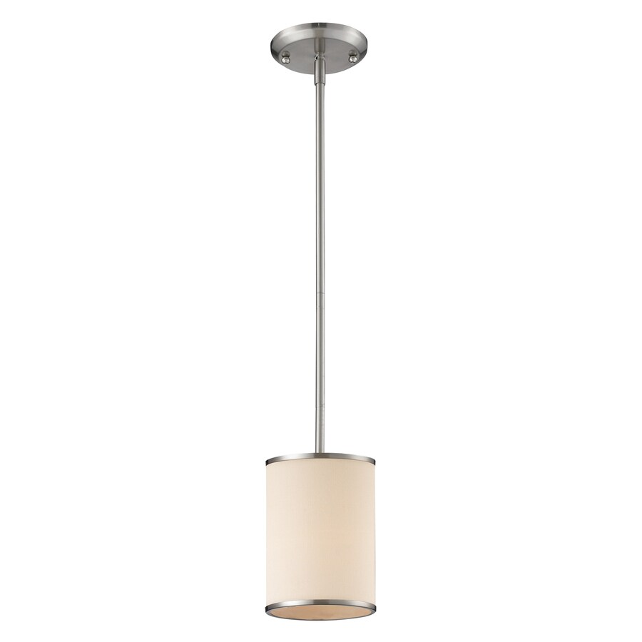 Z-Lite Cameo 6-in Brushed Nickel Industrial Mini Cylinder Pendant