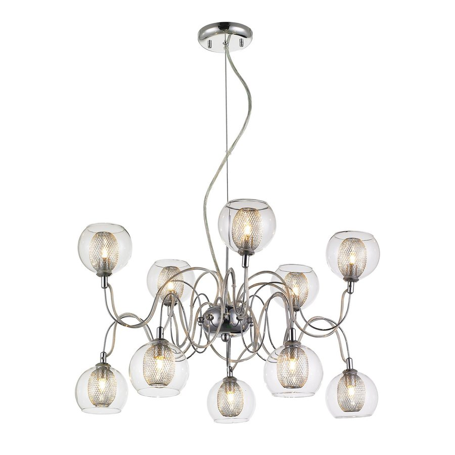 Z-Lite Auge 24-in 10-Light Chrome Industrial Clear Glass Abstract Chandelier