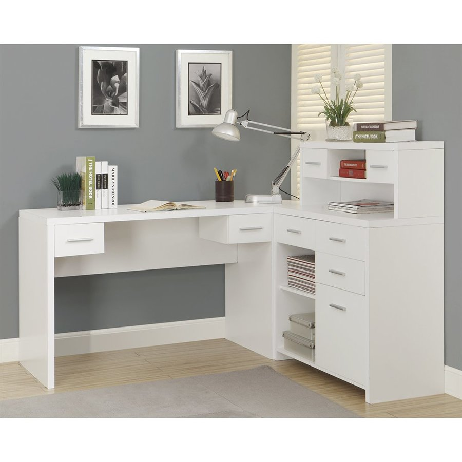Monarch Specialties White L-Shaped Desk