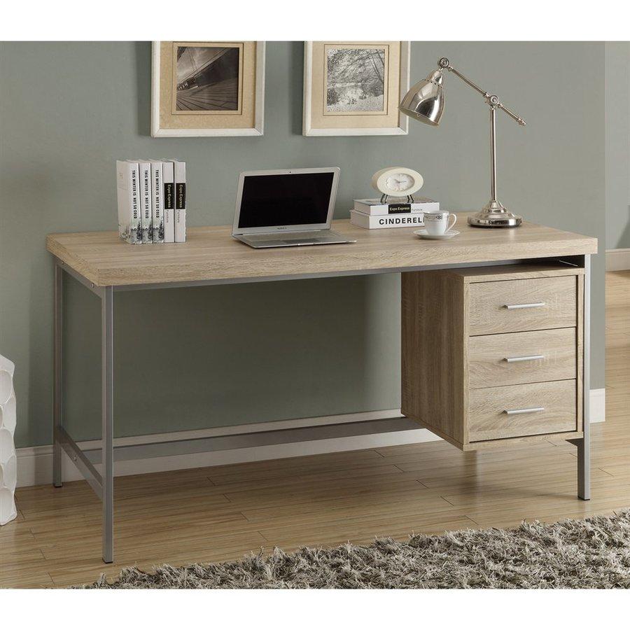 Monarch Specialties Natural Single Pedestal Desk