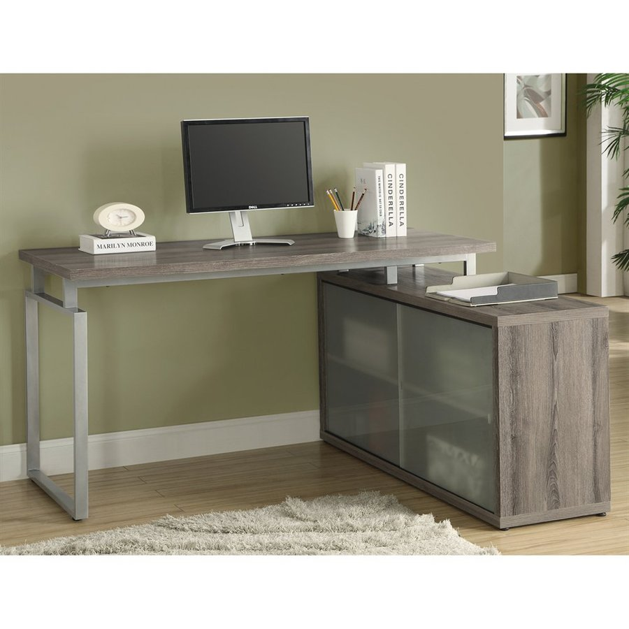 Monarch Specialties Dark Taupe L-Shaped Desk