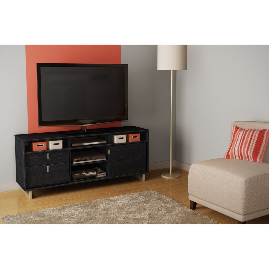 South Shore Furniture Uber Black Oak Rectangular Television Cabinet
