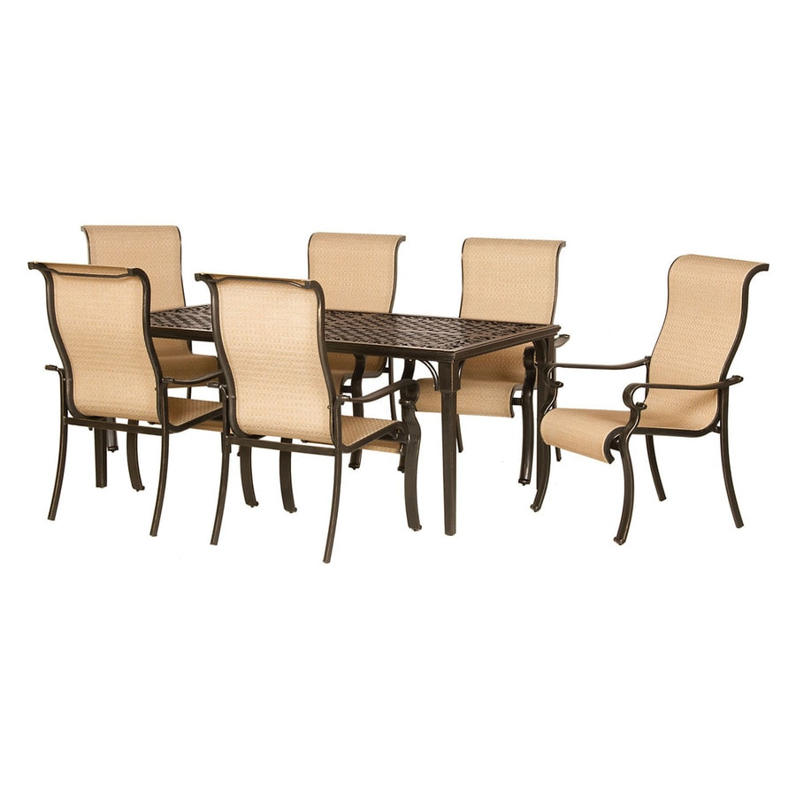 Shop hanover outdoor furniture brigantine 7 piece espresso for Decor 7 piece lunch set