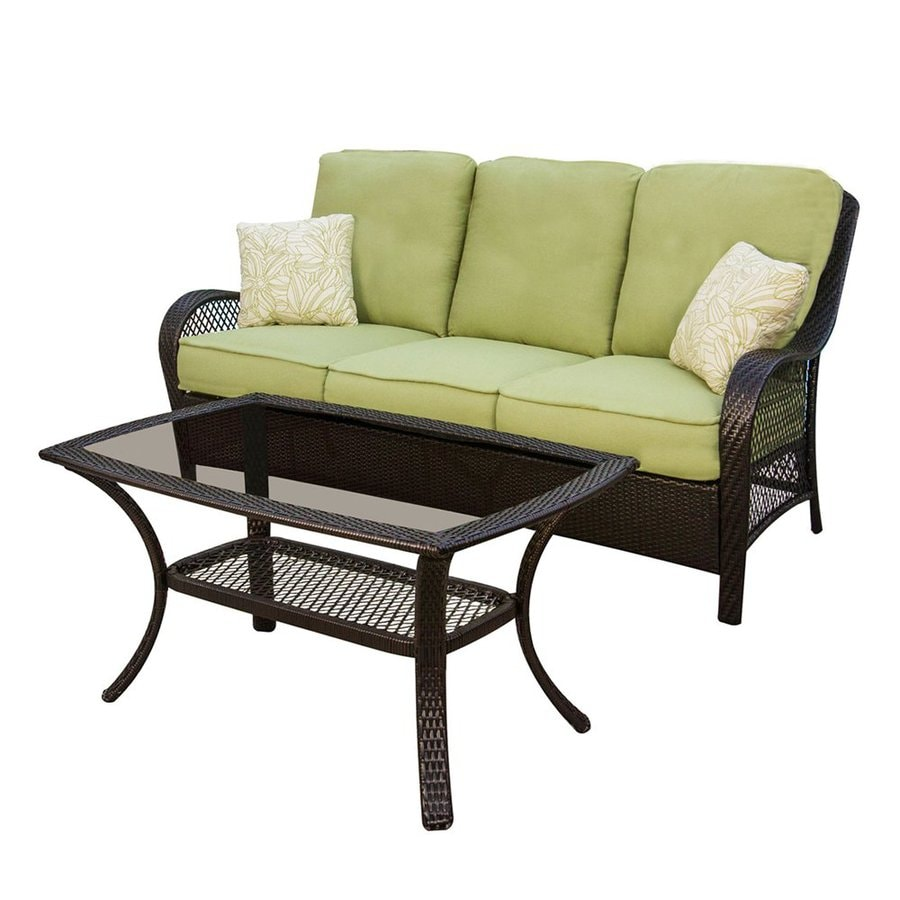 Shop Hanover Outdoor Furniture Orleans 2 Piece Wicker Patio Conversation Set At