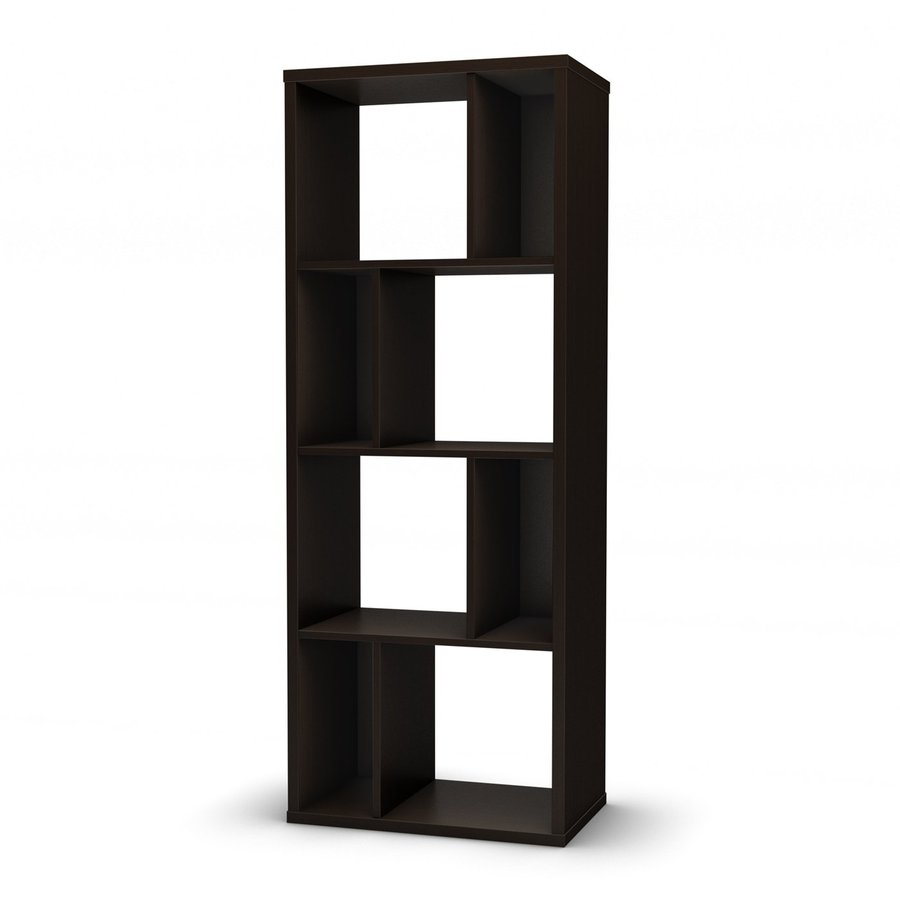 shop south shore furniture reveal chocolate 23 6 in w x 61 5 in h x 14 5 in d 8 shelf bookcase. Black Bedroom Furniture Sets. Home Design Ideas