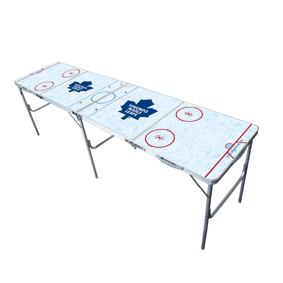 Wild Sports 96-in x 24-in Rectangle Extruded Aluminum White Toronto Maple Leafs Folding Table