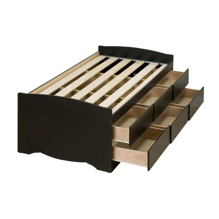 Prepac Furniture Captain's Black Twin Platform Bed with Storage